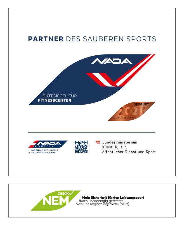 Bild zeigt das Gütesiegel für Fitnesscenter und die Zusatzplakette NEM-Check